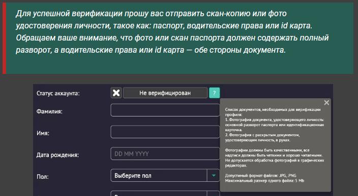 Отправление скана парспорта для регистрации в pinup