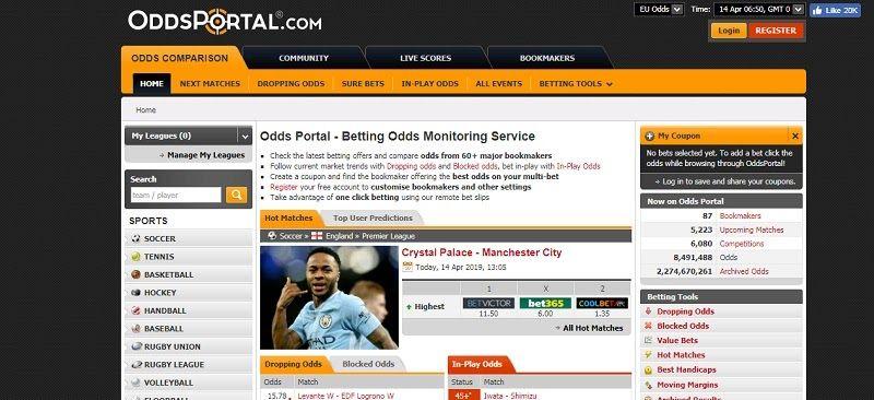 Что можно сделать на сайте Oddsportal?