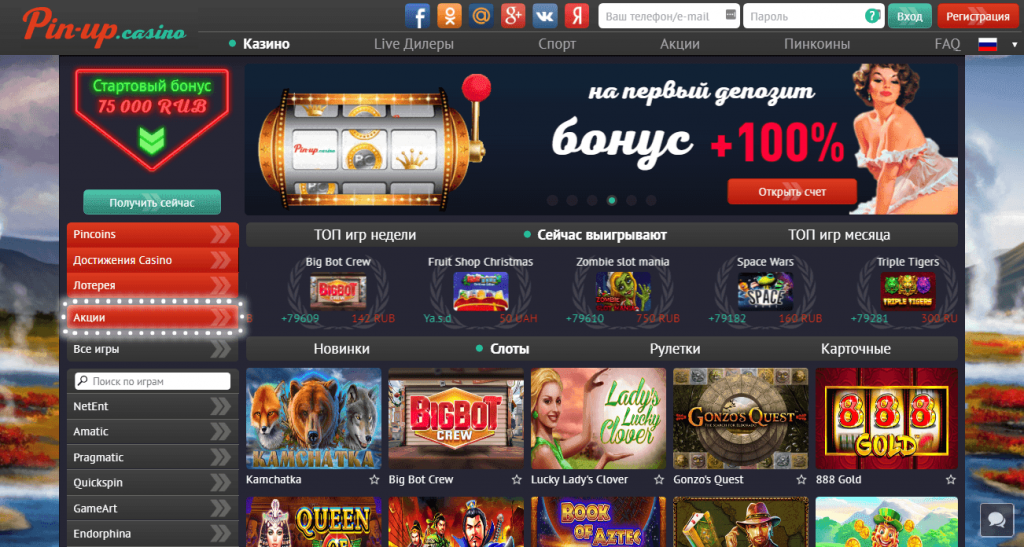 Пин-Ап бонус +100