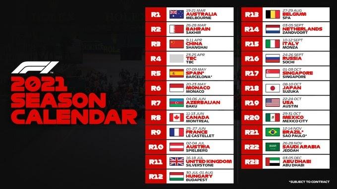Полный календарь Формулы-1 на 2021 год