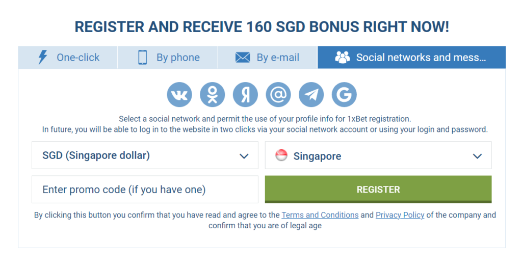 sign-up via social networks in 1xbet