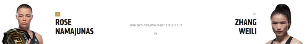 Роуз Намаюнас (17-13-4) - Вейли Чжан (23-21-2) в боях UFC 268 и кард
